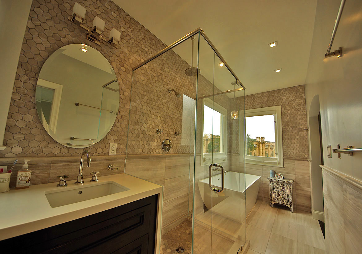Limestone Tile Bathroom Remodel in Marina District, San Francisco